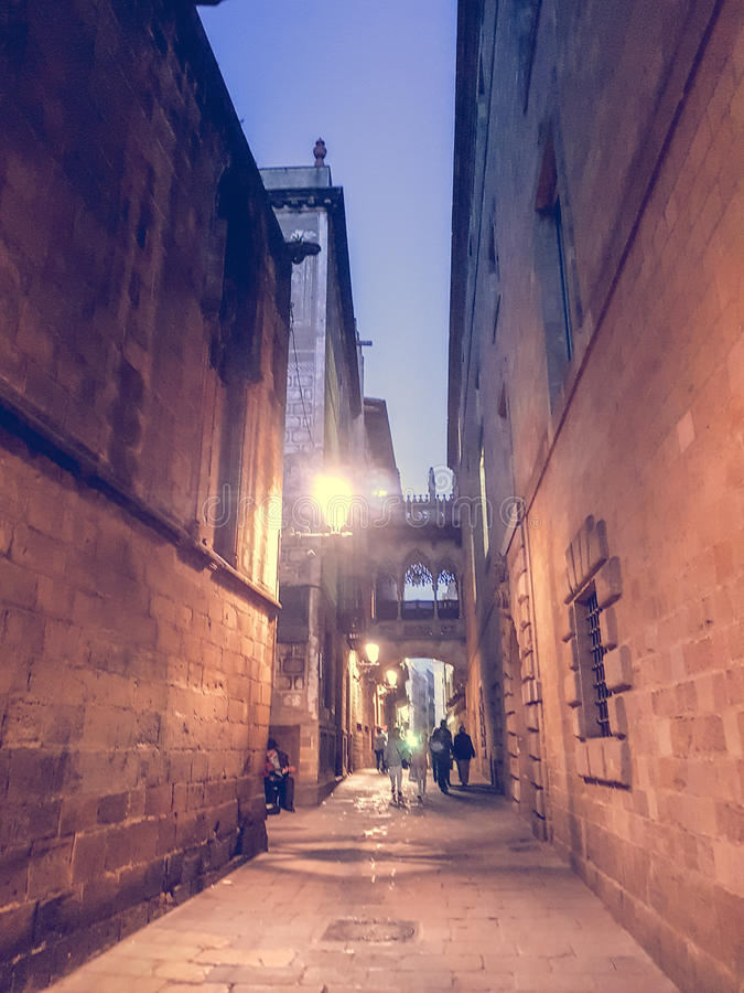 Narrow streets of the heart of Barcelona royalty free stock images
