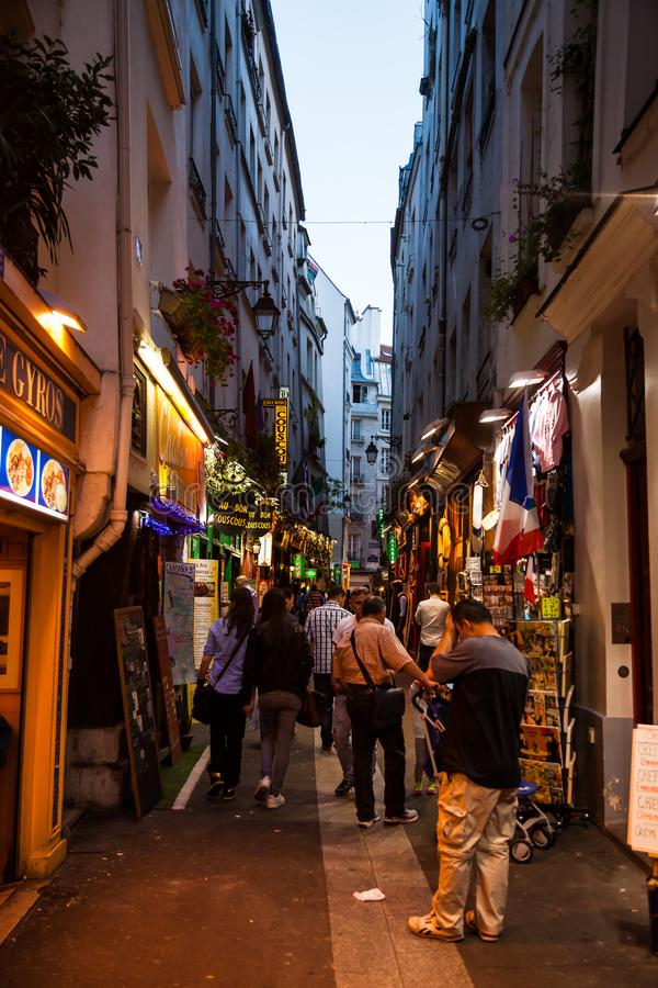 Latin quarter streets in Paris stock image