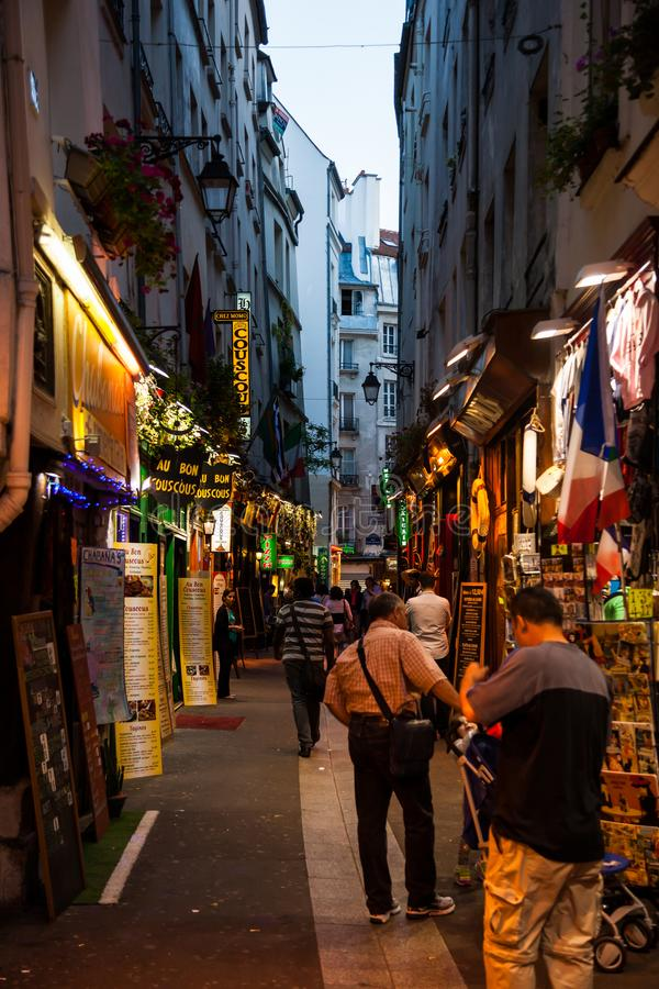 Latin quarter streets in Paris stock photos