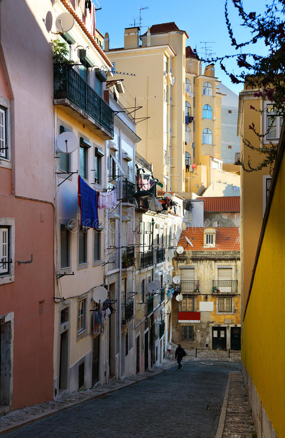 The narrow streets of Lisbon stock images