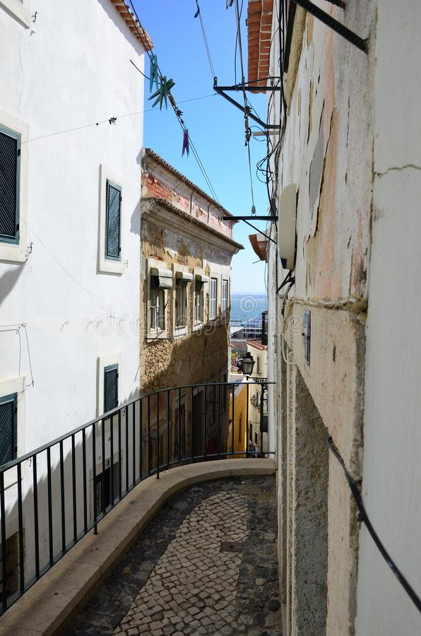 Narrow streets of Lisbon stock images