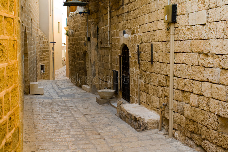 Narrow streets of Old Jaffa. stock photos