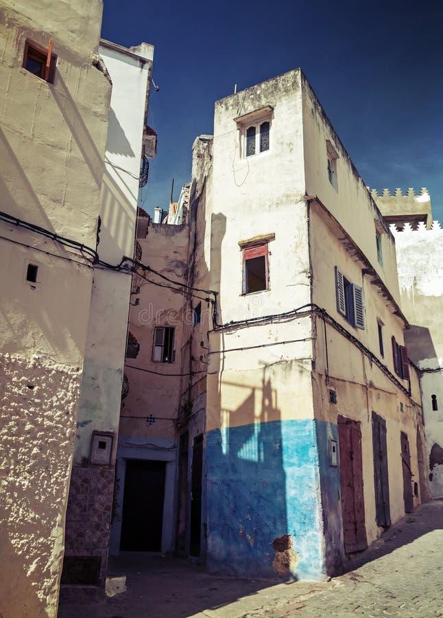 Narrow streets of old Medina of Tangier, Morocco royalty free stock photo