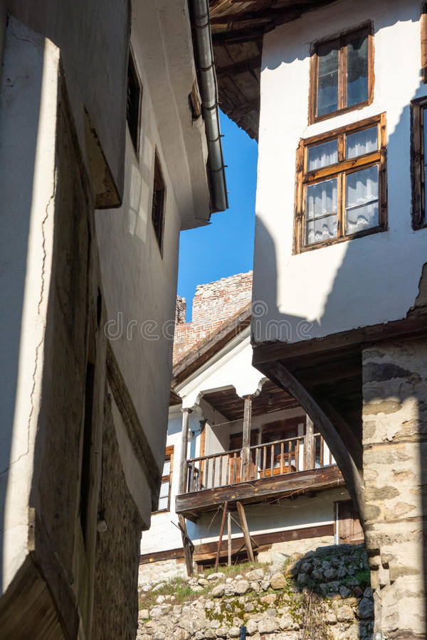 The narrow streets of the old Melnik, Bulgaria stock photography