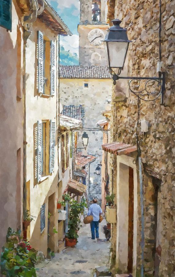 Narrow streets in the old village Lyuseram, France. Digital illustration in watercolor  painting style royalty free illustration