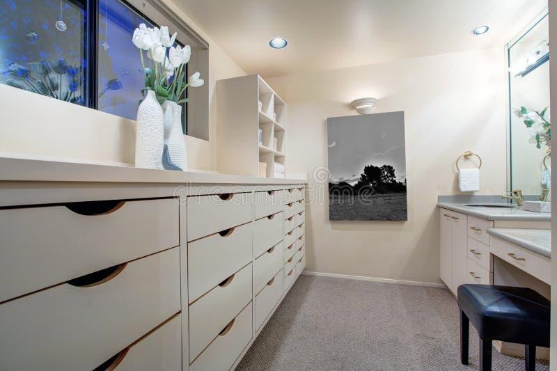 Download Narrow Walk In Closet Features Make Up Vanity Stock Image   Image  Of Narrow