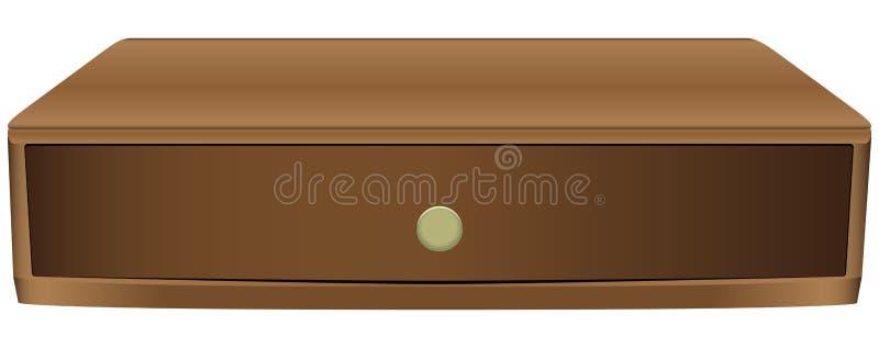 Narrow wooden drawer stock illustration