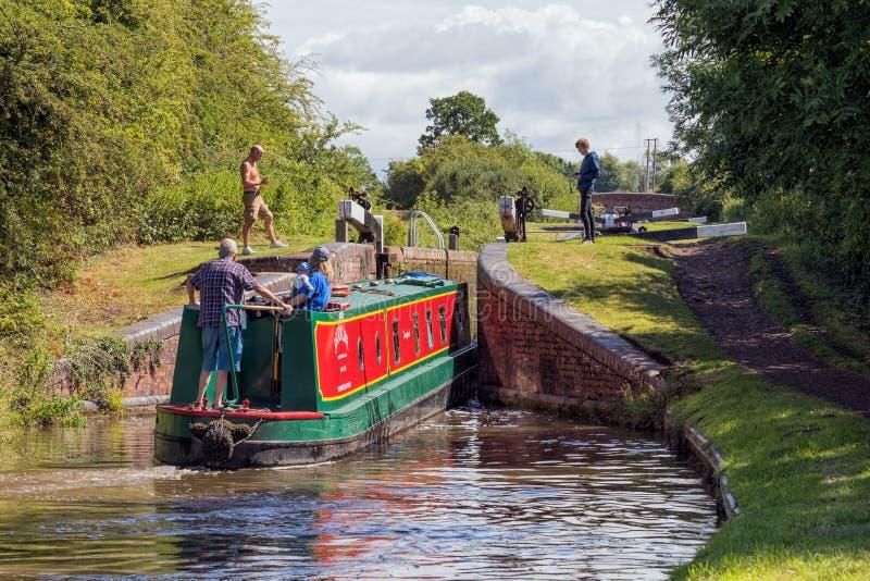Narrowboat entering lock. stock image