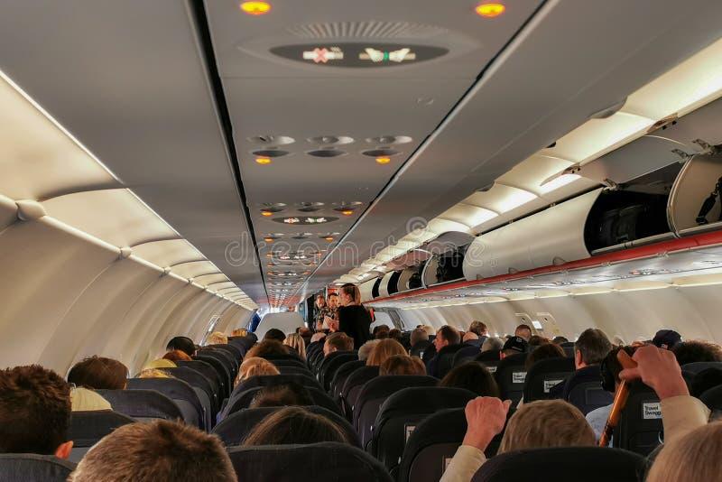 Narrowbody samolotu wnętrze obraz stock
