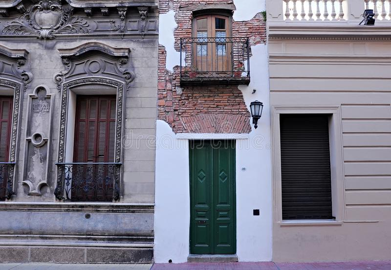 Narrowest house in Buenos Aires. Walking on the streets of San Telmo region. Buenos Aires stock image