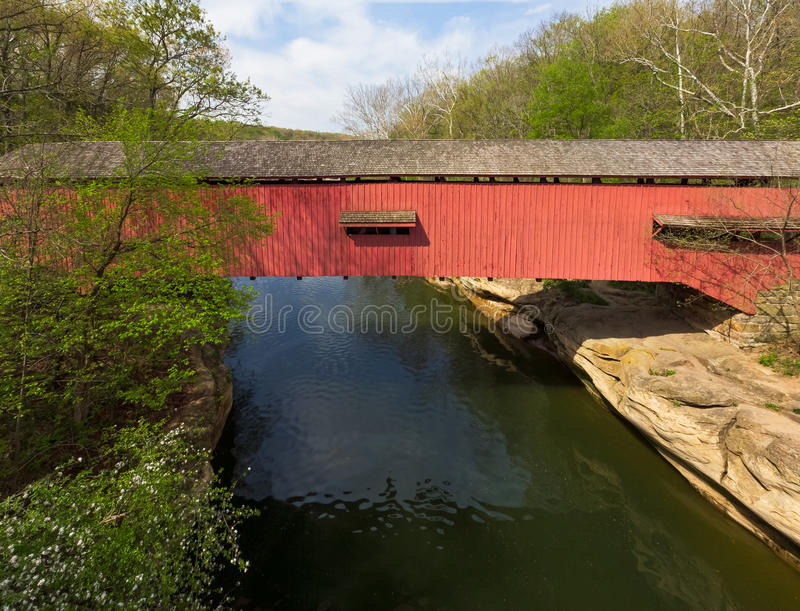 Narrows Covered Bridge at Turkey Run royalty free stock images
