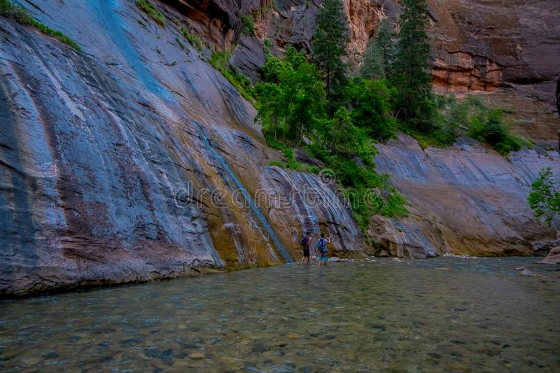 The Narrows and Virgin River in Zion National Park located in the Southwestern of United States, near Springdale, Utah stock photography