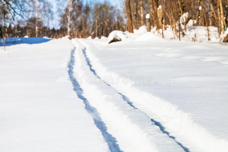 narta ślad na śnieżnym polu w pogodnym zima dniu obraz royalty free