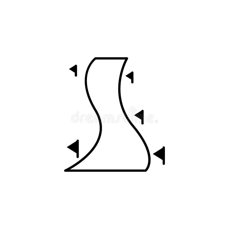 Narta, droga, flaga, zima konturu ikona Element zima sporta ilustracja Znaki i symbol ikona mogą używać dla sieci, logo, ilustracji