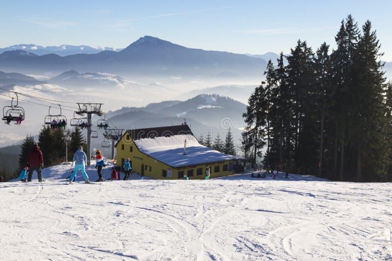 Narta parkowy Kubinska Hola Sistani ludzie narciarstw fotografia royalty free