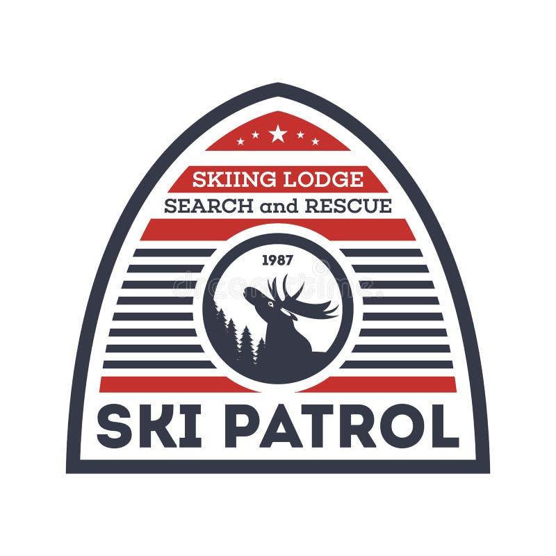 Narty patrol odizolowywająca wektorowa etykietka ilustracja wektor