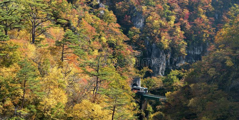 Naruko Gorge valley with rail tunnel in Miyagi Tohoku Japan stock photos