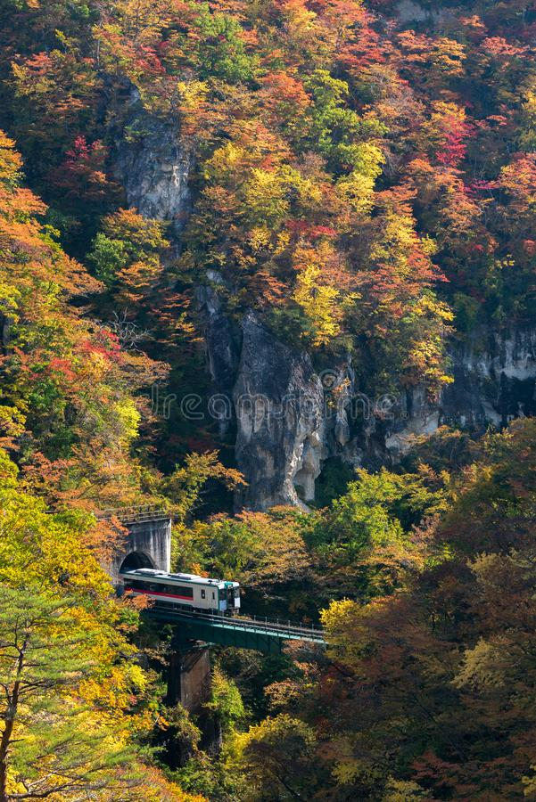 Naruko Gorge valley with rail tunnel in Miyagi Tohoku Japan royalty free stock image