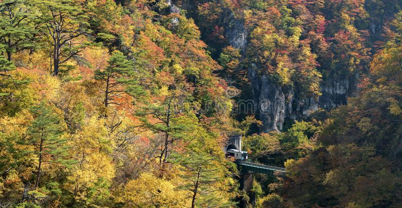 Naruko Gorge valley with rail tunnel in Miyagi Tohoku Japan stock photography
