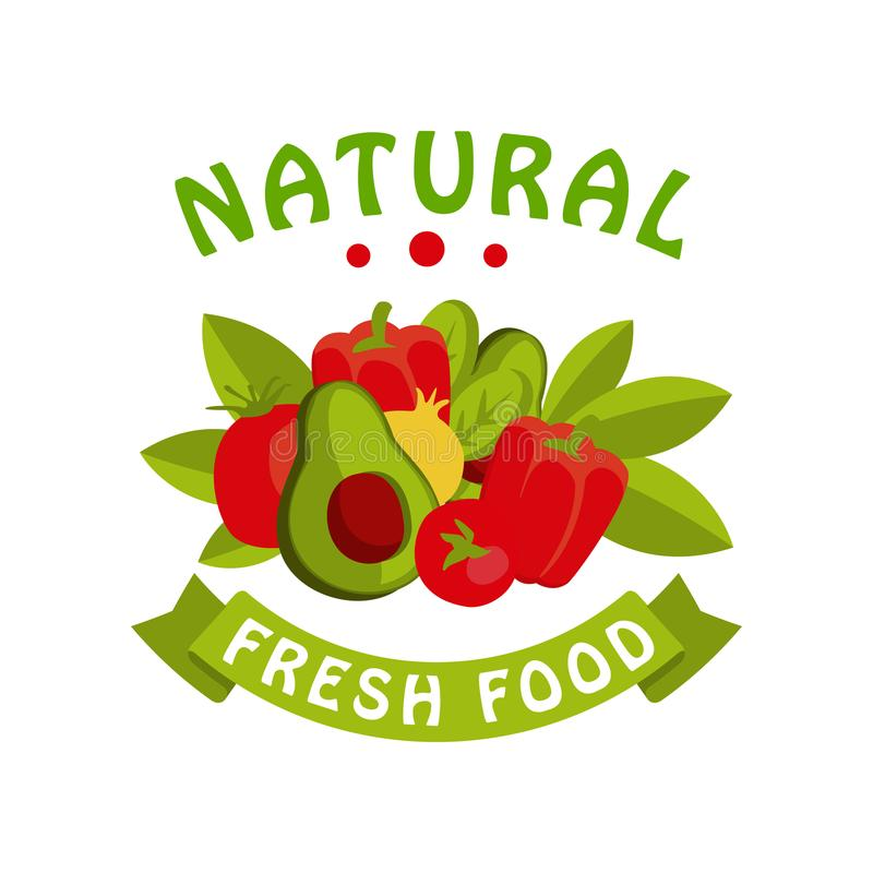 Narural fresh food logo template, badge for healthy food, fresh products, farmer market, restaurant, cafe, packaging. Colorful vector Illustration on a white vector illustration