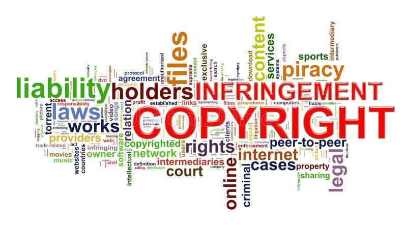 Naruszenie praw autorskich wordcloud ilustracja wektor