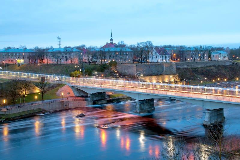 Narva/ Estonia. Bridge of Friendship. NARVA, ESTONIA - JANUARY 1, 2017: Bridge of Friendship with pedestrian tunnel over Narova River between Narva in Estonia stock photo