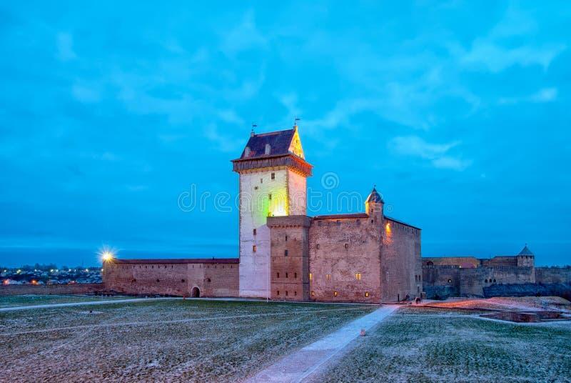 Narva estonia Hermann Castle arkivfoton