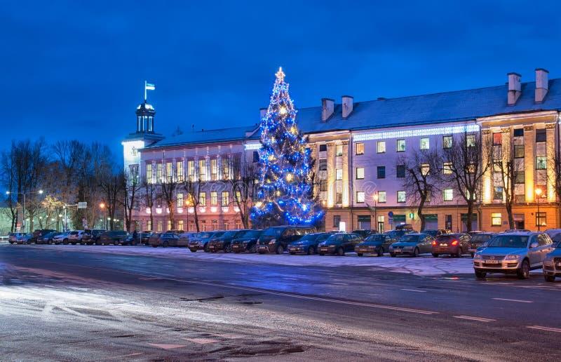 Narva estonia Peter fyrkant arkivfoton