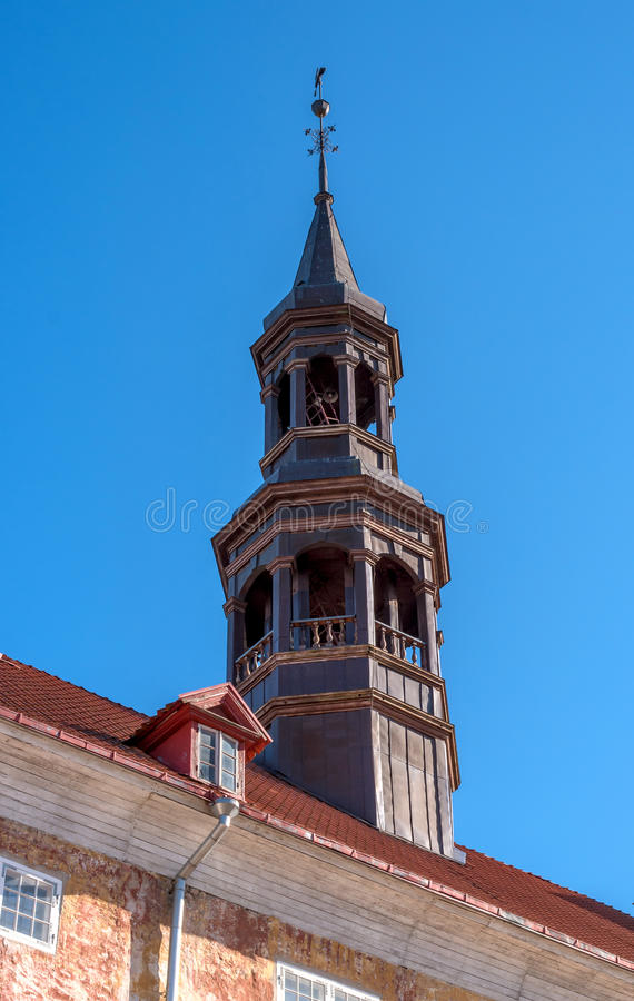 Narva. Estonia. Spire of the ancient city hall. royalty free stock images