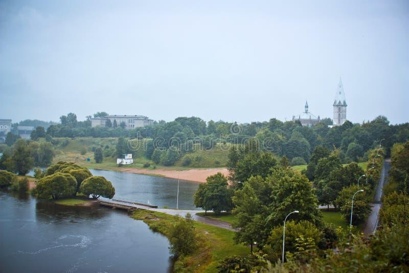 Narva, Estonia. View on Aleksandri Suurkirik Narvas from Narva Hermanni linnus, Estonia stock image
