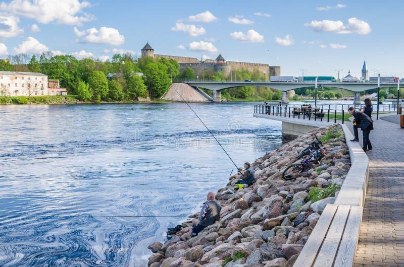 Narva flodinvallning med semesterfirarefolk och gränsen av Ryssland och den europeiska unionen royaltyfri foto