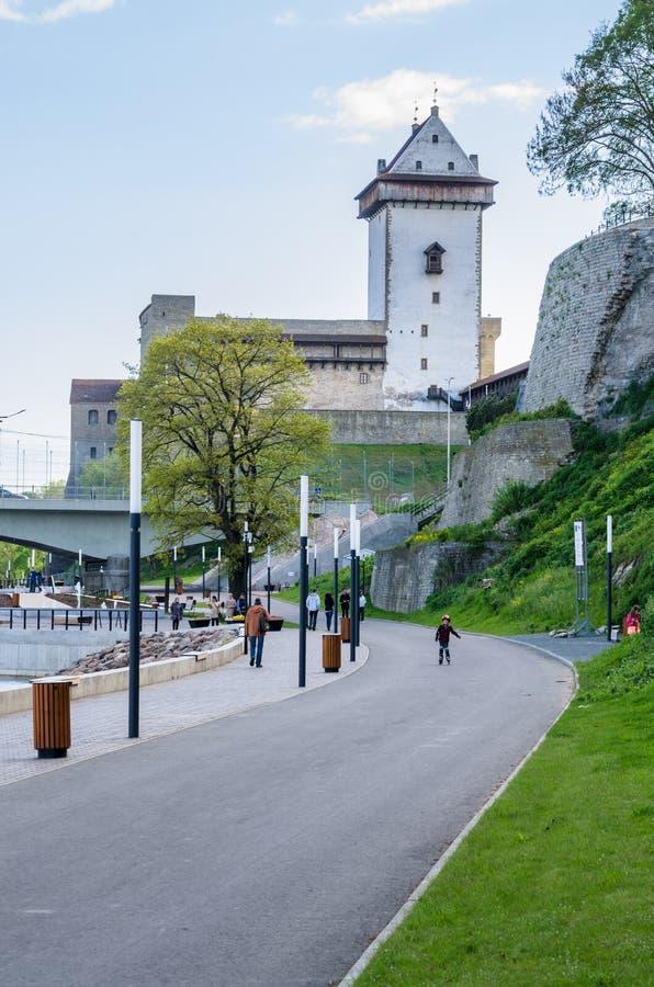 Narva flodinvallning och en härlig sikt av den Ivangorod fästningen och gränsen av Ryssland och den europeiska unionen arkivfoto