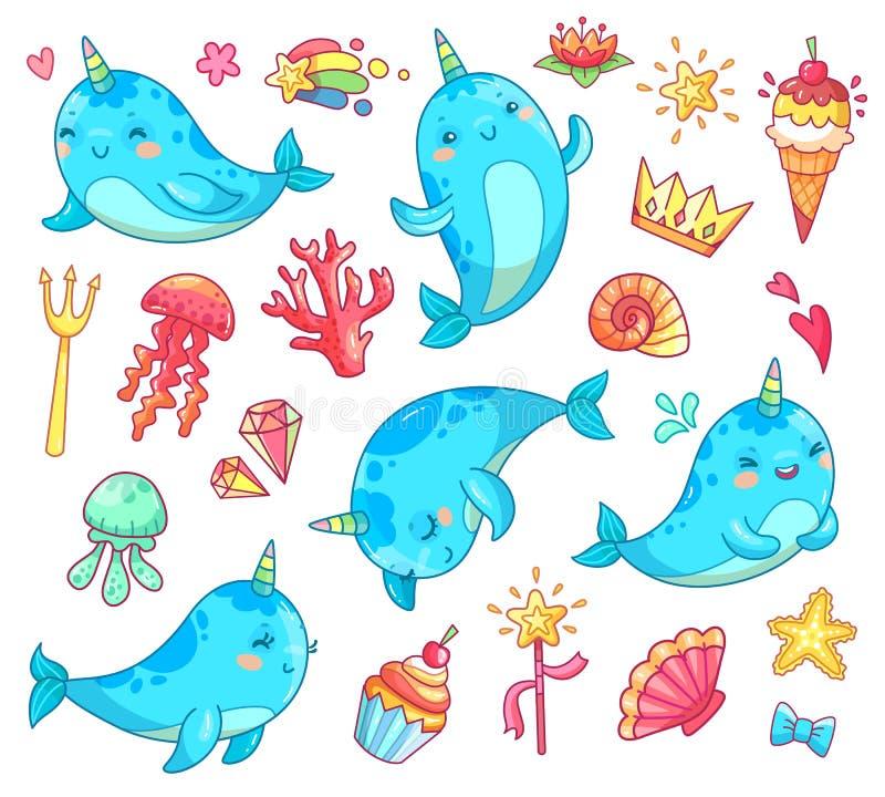 Narval marinho do unicórnio do bebê do kawaii A baleia engraçada azul nadadora do anime vector o clipart dos desenhos animados ilustração royalty free