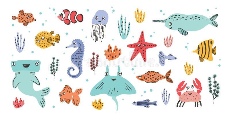 narwhal逗人喜爱的微笑的海生动物的汇集-,双髻鲛,黄貂鱼,螃蟹,鱼,海星,水母,海象 皇族释放例证