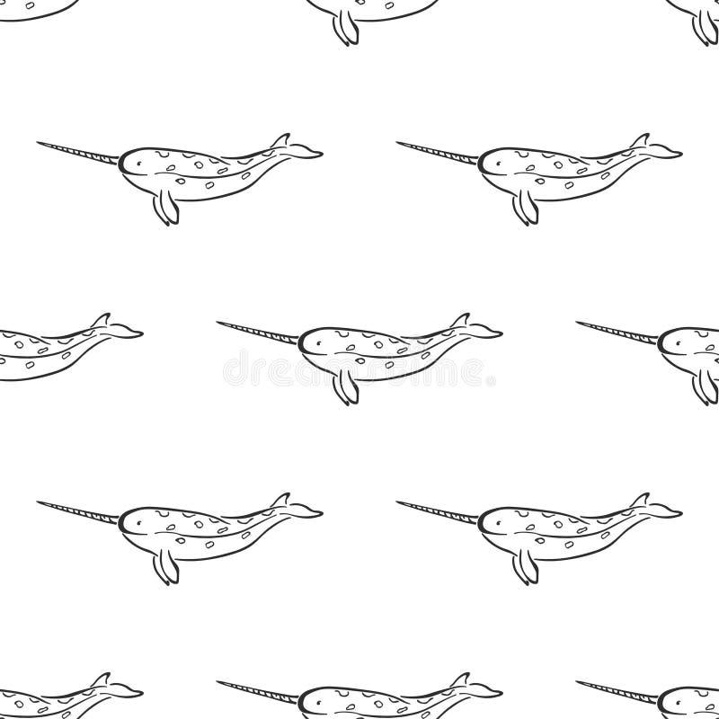 Narwhal鲸鱼字符摘要手拉的传染媒介无缝的样式 r r o 皇族释放例证