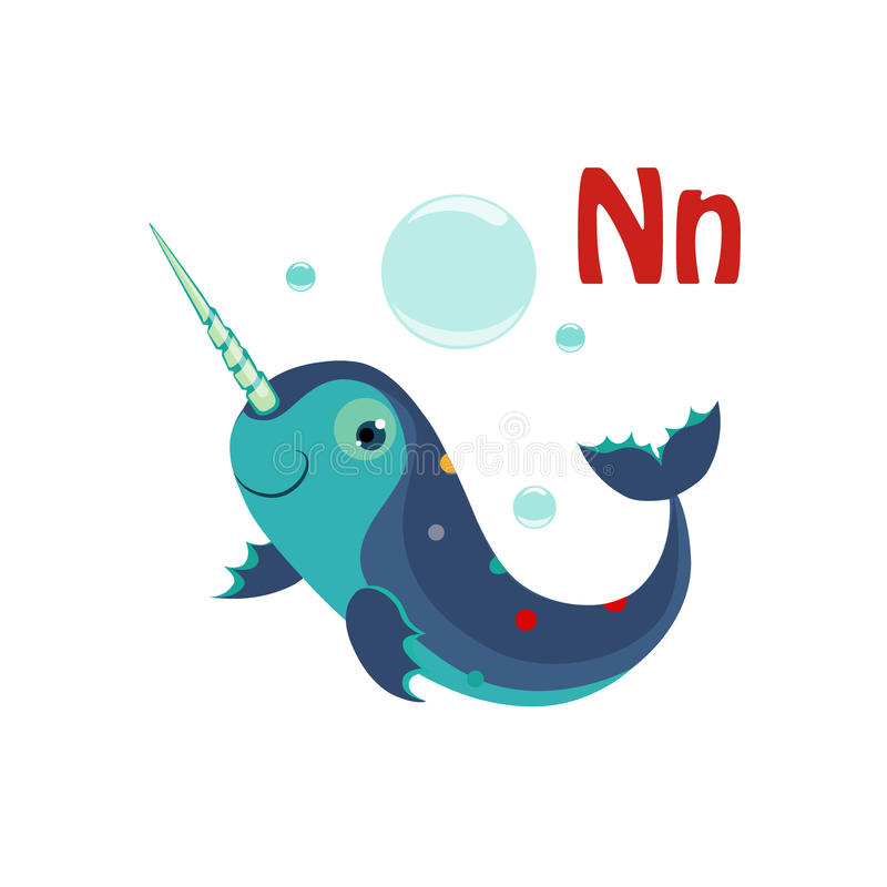 Narwhal. Funny Alphabet, Animal Vector Illustration. Narwhal. Funny Alphabet, Colourful Animal Vector Illustration vector illustration