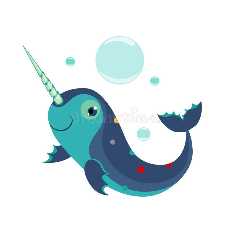 Narwhal. Funny Alphabet, Animal Vector Illustration. Narwhal. Funny Alphabet, Colourful Animal Vector Illustration royalty free illustration