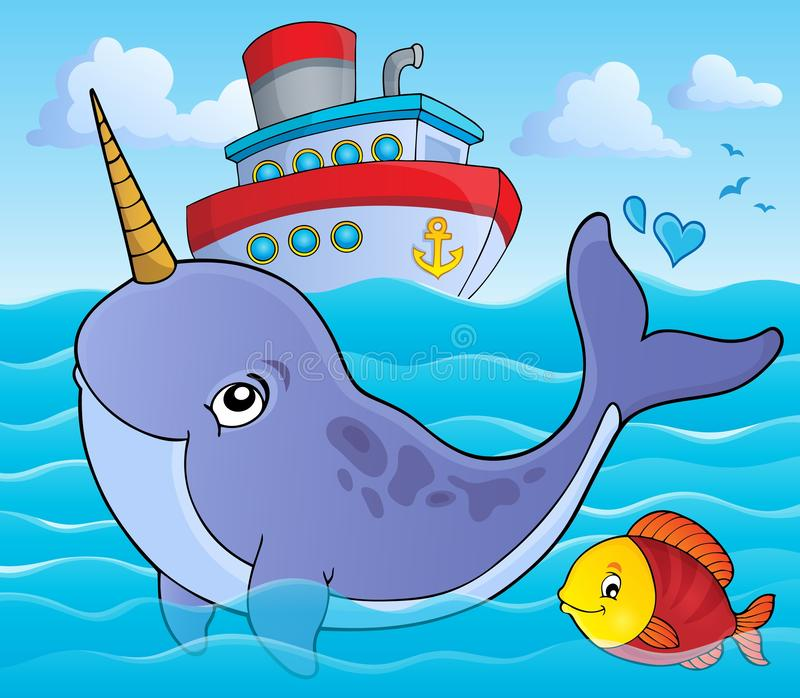 Narwhale temabild 1 royaltyfri illustrationer