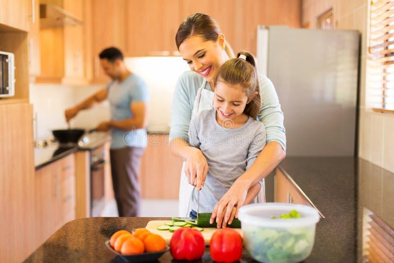 Narządzanie rodzinny Posiłek zdjęcie stock
