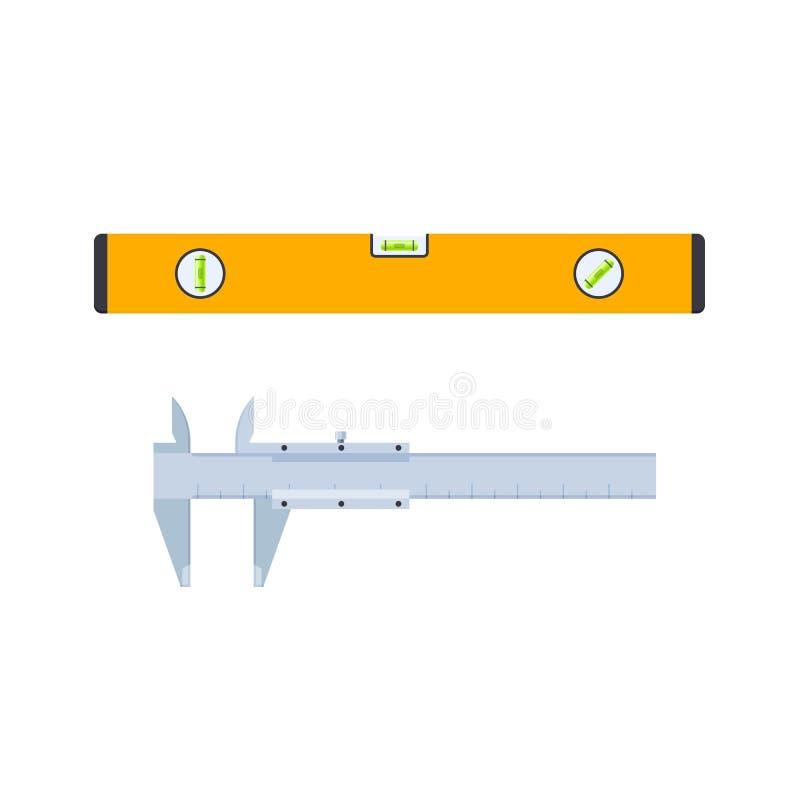 Narzędzia budowniczy, repairman, installer, w forma poziomie i callipers ilustracja wektor