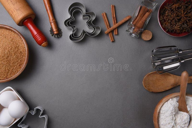 Narzędzia dla piec Wakacyjnych ciastka z kopii przestrzenią fotografia stock