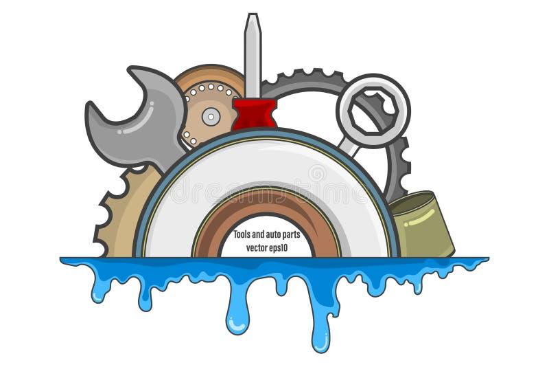 Narzędzia i samochód części etykietka ilustracja wektor