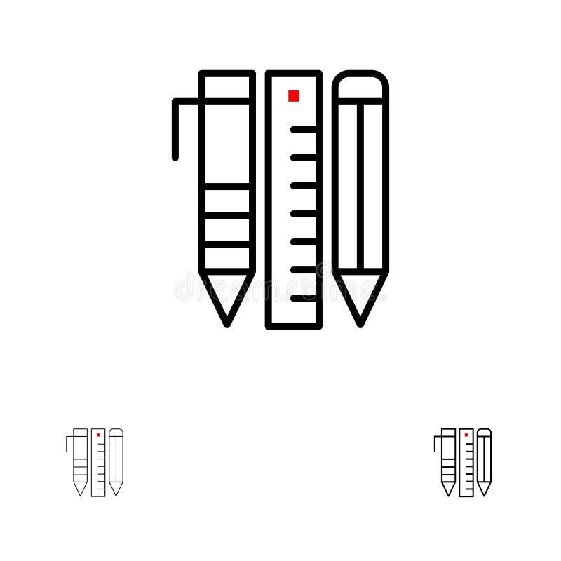 Narzędzia, Istotni narzędzia, Stacjonarni, rzeczy, Piszą Śmiałego i cienkiego czerni linii ikony set ilustracji
