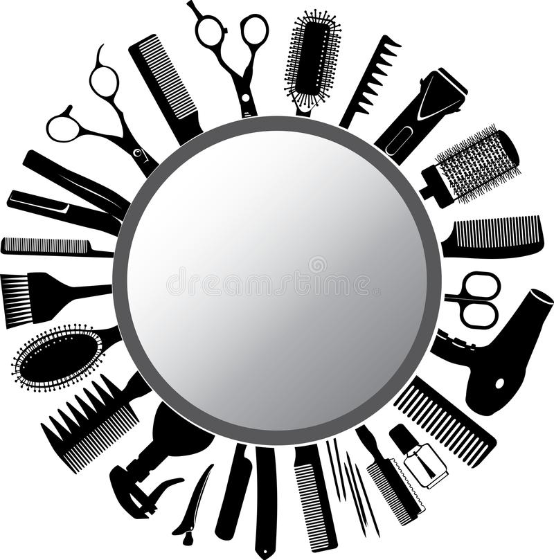Narzędzia lustro i fryzjer ilustracji