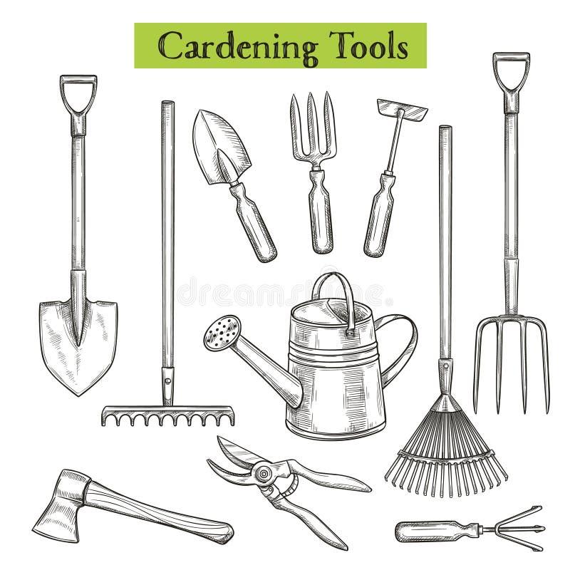 narzędzia pracy w ogrodzie ilustracja wektor
