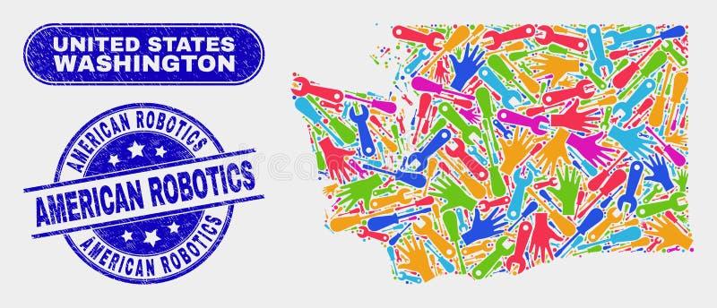 Narzędzia stan washington mapa i Porysowane Amerykańskie robotyka znaczka foki ilustracji