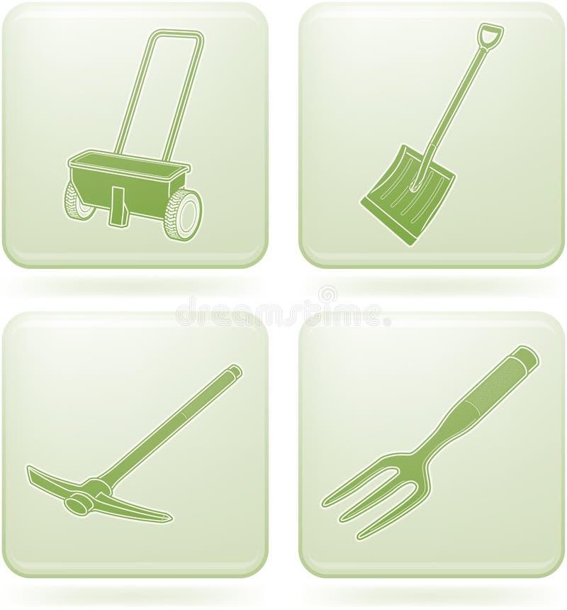 narzędzie ogrodowi ikon olivine ustalonego kwadrata narzędzia ilustracja wektor