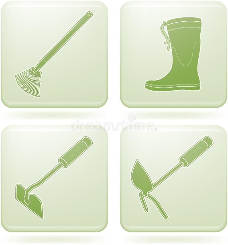 narzędzie ogrodowi ikon olivine ustalonego kwadrata narzędzia royalty ilustracja