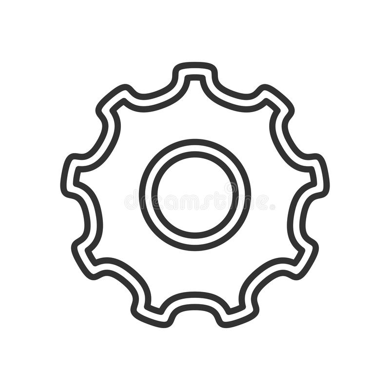 Narzędziowego przekładni koła konturu Płaska ikona na bielu ilustracji
