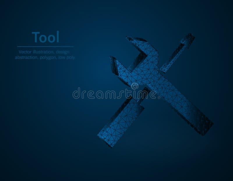 Narzędziowego symbolu niska poli- wektorowa ilustracja, instrument poligonalna ikona, pojęcie ilustracja, wyrwania i śrubokrętu ilustracja wektor